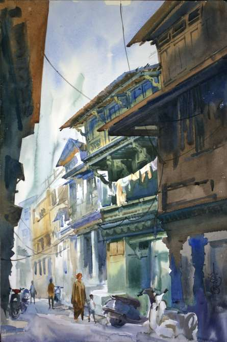 Ahemadabad Street 2 | Painting by artist Vikrant Shitole | watercolor | Paper