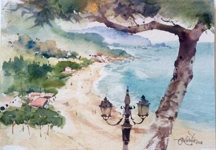 Sperlonga Beach, Italy   Painting by artist Vikrant Shitole   watercolor   Paper