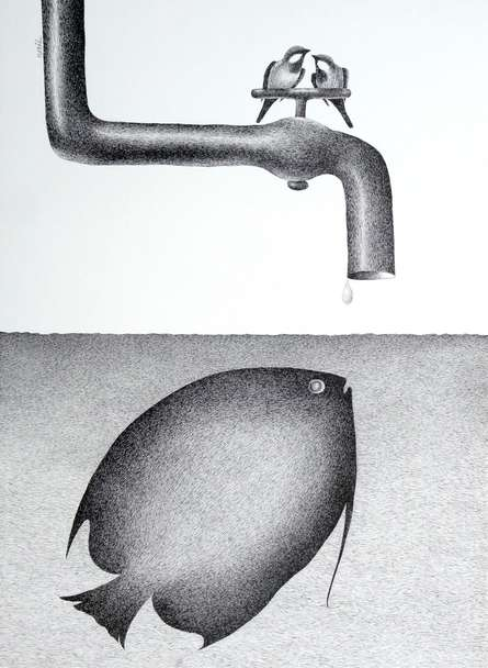 Thirst 59 | Drawing by artist Nuril Bhosale |  | pen | Paper