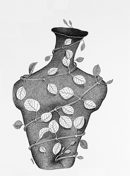 Pots/Vessels Pen Art Drawing title 'Thirst 71' by artist Nuril Bhosale