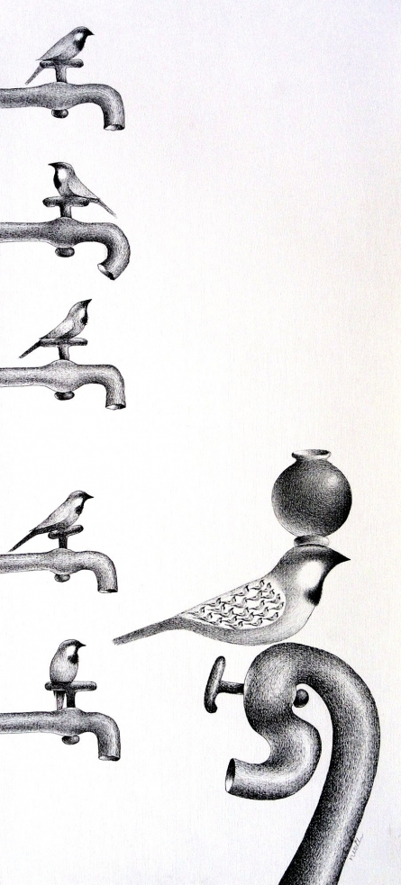Thirst 74 | Drawing by artist Nuril Bhosale | | pen | Paper