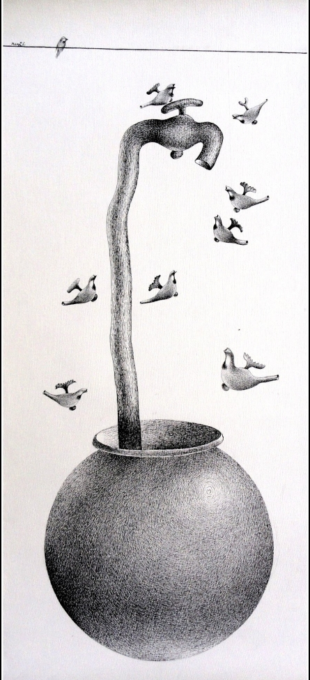 Pots/Vessels Pen Art Drawing title Thirst 75 by artist Nuril Bhosale