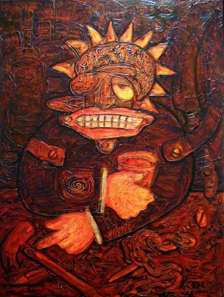 Expressionist Acrylic Art Painting title 'New Age Taverna Patron' by artist yolanda desousa.