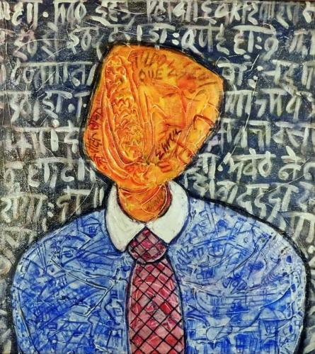 Expressionist Acrylic Art Painting title 'Pretendente' by artist yolanda desousa.