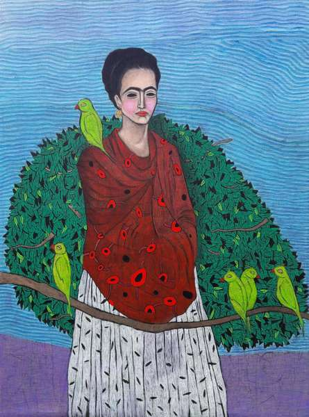Figurative Mixed-media Art Painting title 'Mitthu Mitthu Tota' by artist Himanshu Lodwal