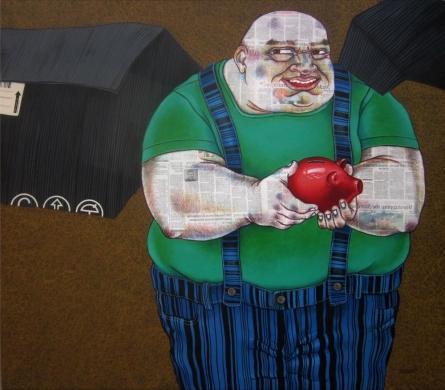 Treasurer | Painting by artist Mrinal Dey | acrylic | Canvas