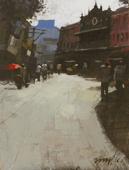 Cityscape Acrylic Art Painting title 'Road stories 23' by artist Anwar Husain