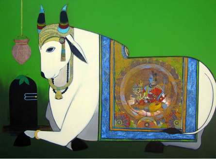Holy Bull | Painting by artist Ashok Rathod | acrylic | Canvas
