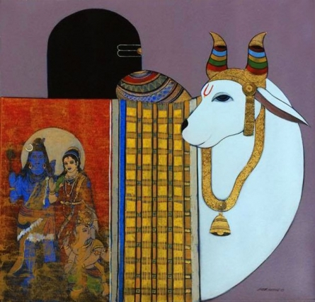 Religious Acrylic Art Painting title 'Holy Bull 2' by artist Ashok Rathod