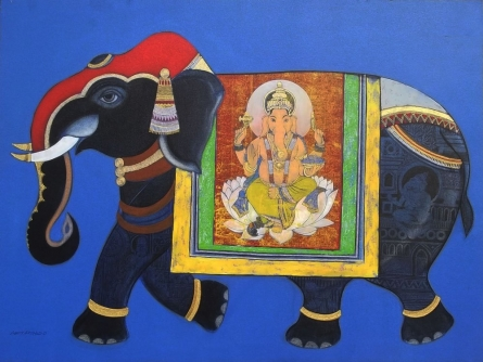 Royal Elephant | Painting by artist Ashok Rathod | acrylic | Canvas