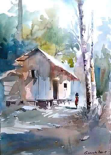 Landscape Watercolor Art Painting title 'Forest house' by artist Gopesh Das