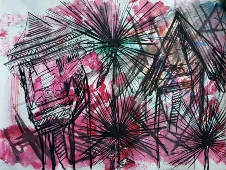 Stilt houses   Painting by artist Vitansha Lamba   watercolor   thick paper