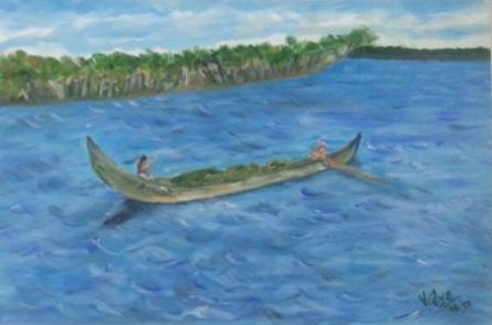 Boat Series3 | Painting by artist Vidya Lakshmi | oil | Canvas