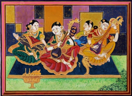 Carnatic classical musicians | Painting by artist Radhika Ulluru | mixed-media | Paper