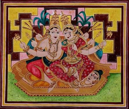 Figurative Mixed-media Art Painting title 'Kamakameshwari' by artist Radhika Ulluru