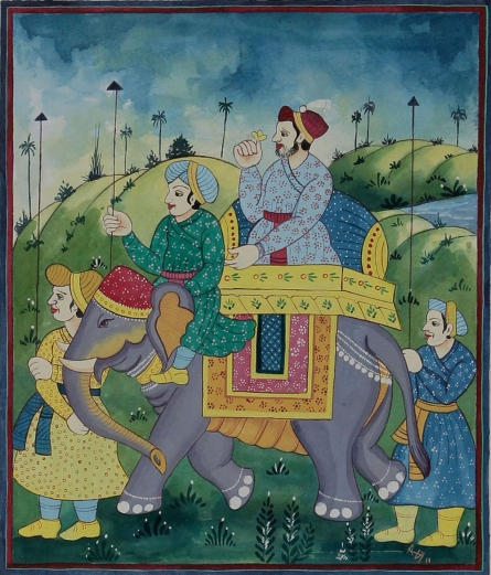 Emperor riding elephant | Painting by artist Radhika Ulluru | watercolor | Paper