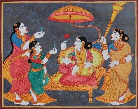 Rani enthroned | Painting by artist Radhika Ulluru | mixed-media | Paper