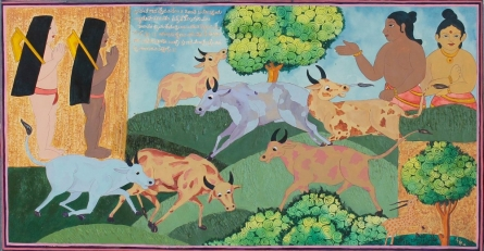 Figurative Mixed-media Art Painting title 'Cow herd and village boys in Vasantha Ma' by artist Radhika Ulluru