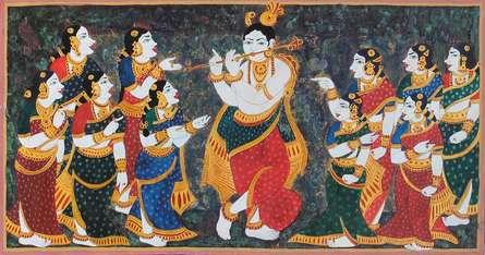 Krishna playing flute for Gopis | Painting by artist Radhika Ulluru | mixed-media | Paper