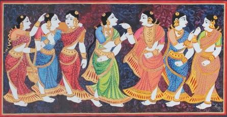 Gossiping | Painting by artist Radhika Ulluru | mixed-media | Paper