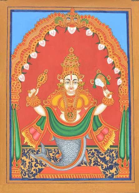 Radhika Ulluru | Mysore Traditional art title Matsya Avatara on Paper | Artist Radhika Ulluru Gallery | ArtZolo.com