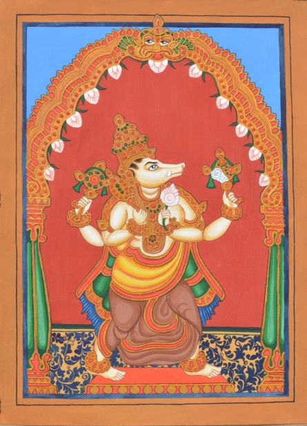 Traditional Indian art title Varaha Avatara on Paper - Mysore Paintings