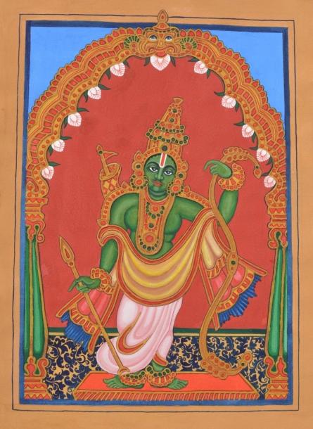 Traditional Indian art title Raama Avatara on Paper - Mysore Paintings