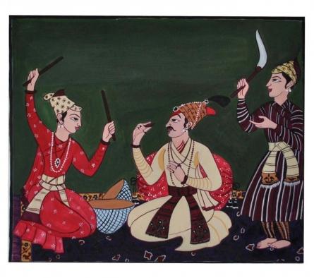 "Figurative Postercolor Art Painting title ""Raja enjoying music"" by artist Radhika Ulluru"