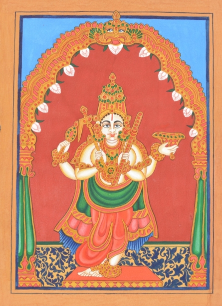 Traditional Indian art title Balarama Avatara on Paper - Mysore Paintings