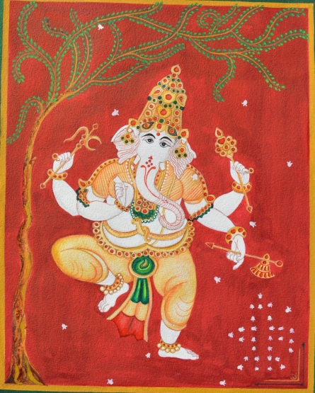 Religious Watercolor Art Painting title 'Ganesh dancing infront of sivalinga' by artist Radhika Ulluru