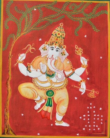 Ganesh dancing infront of sivalinga | Painting by artist Radhika Ulluru | watercolor | Paper