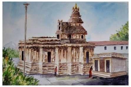 Landscape Watercolor Art Painting title 'Sringeri Temple' by artist Radhika Ulluru