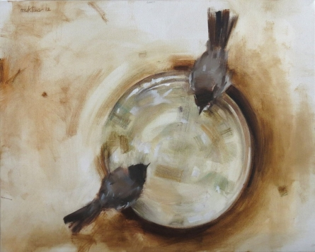 Nature Oil Art Painting title 'Bulbuls II' by artist Mukta Avachat