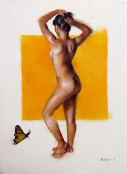 Mukta Avachat | Dry-pastel Painting title The Yellow One on Paper | Artist Mukta Avachat Gallery | ArtZolo.com