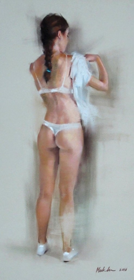 Nude Dry-pastel Art Painting title Changing by artist Mukta Avachat