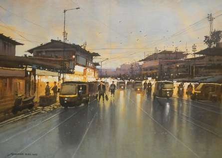 Cityscape Watercolor Art Painting title 'Badlapur Night' by artist NanaSaheb Yeole