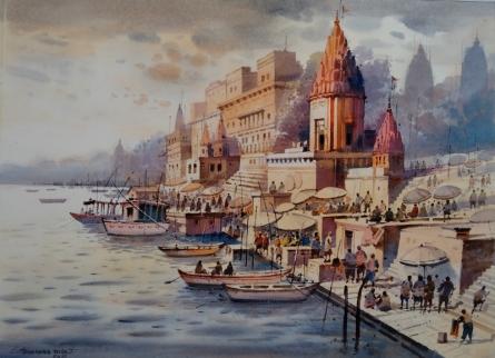 Cityscape Watercolor Art Painting title Banaras Ghat by artist NanaSaheb Yeole