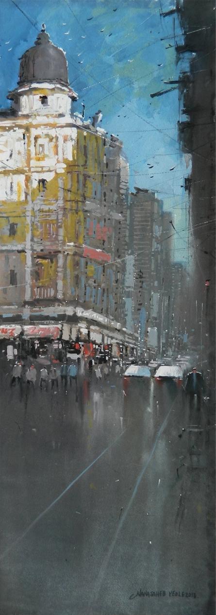 Cityscape Watercolor Art Painting title Bombay Street by artist NanaSaheb Yeole
