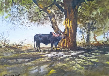 Animals Watercolor Art Painting title 'Bull' by artist NanaSaheb Yeole