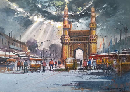 Cityscape Watercolor Art Painting title 'Charminar' by artist NanaSaheb Yeole
