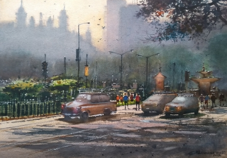 Cityscape Watercolor Art Painting title 'Colaba Mumbai' by artist NanaSaheb Yeole