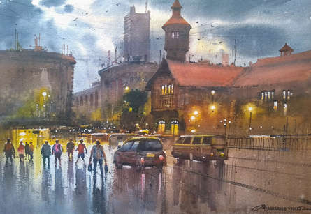 Cityscape Watercolor Art Painting title 'Crawford Market' by artist NanaSaheb Yeole