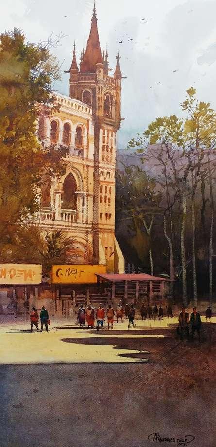 Cityscape Watercolor Art Painting title 'Cst Mumbai 2' by artist NanaSaheb Yeole