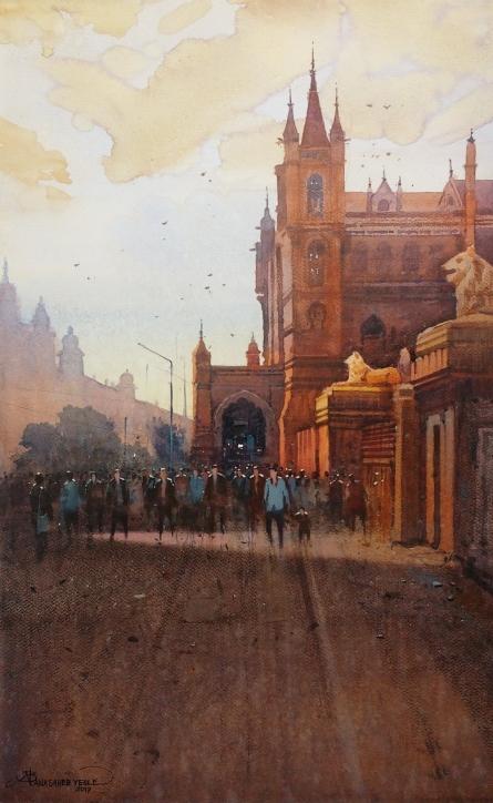 Cityscape Watercolor Art Painting title Cst Mumbai by artist NanaSaheb Yeole