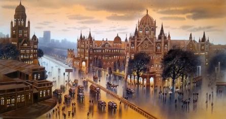 Cityscape Acrylic Art Painting title 'Cst Mumbai' by artist NanaSaheb Yeole