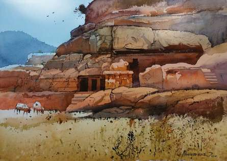 Landscape Watercolor Art Painting title 'Ellora Cave 4' by artist NanaSaheb Yeole