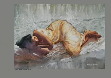 Nude Watercolor Art Painting title 'Figure 1' by artist NanaSaheb Yeole