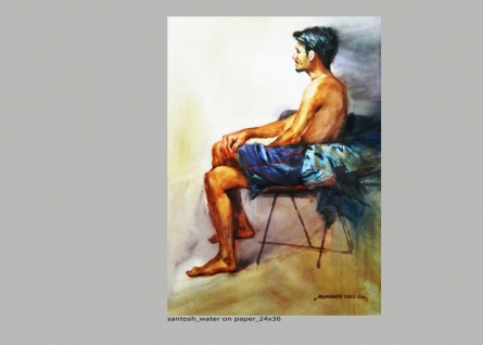 Figurative Watercolor Art Painting title 'Figure 4' by artist NanaSaheb Yeole