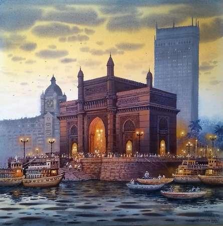 Cityscape Acrylic Art Painting title 'Gateway Of India' by artist NanaSaheb Yeole