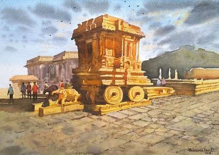 Cityscape Watercolor Art Painting title 'Hampi' by artist NanaSaheb Yeole